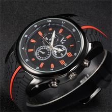 Vogue V6 De Mode De Luxe Hommes montre Cool Pneu bande de silicone Noir Horloge Analogique Militaire Homme sport Casual Montre-Bracelet reloj Cadeau