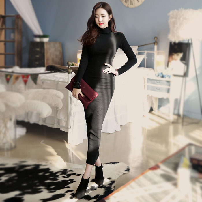 2016 Winter Women Black Turtleneck Sweater Dress Plus Size Long Sleeve Slim  Elegant Warm Knitted Bodycon Maxi Dresses Robe-in Dresses from Women s  Clothing ... 2d4a6b0ee816
