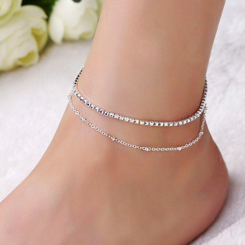 Women Double Foot Chain Cavigliere Silver Color Chain De pied Ankle Bracelets Feminina Enkelbandje Anklets Jewelry For Foot