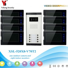 YobangSecurity 1-Camera 8-Monitor 7″ Video Door Phone Video Intercom Home Doorbell System Night Vision 2-way Access Control