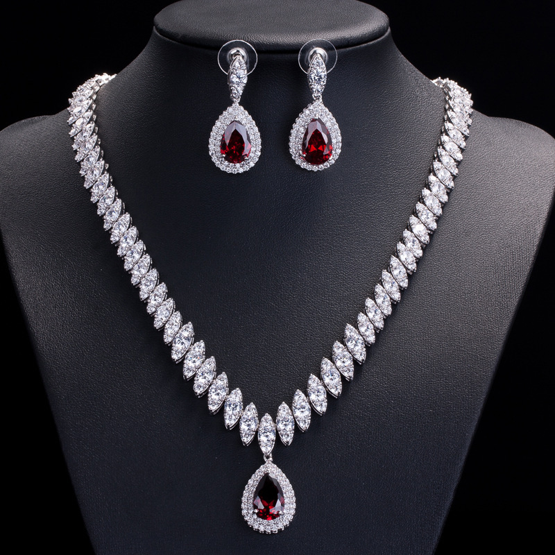 Classic Luxury Water Drop Shape Earrings Necklace AAA+Cubic Zirconia Crystal Rhinestone Bridal Red Jewelry Sets Women - xinhai Xu's store
