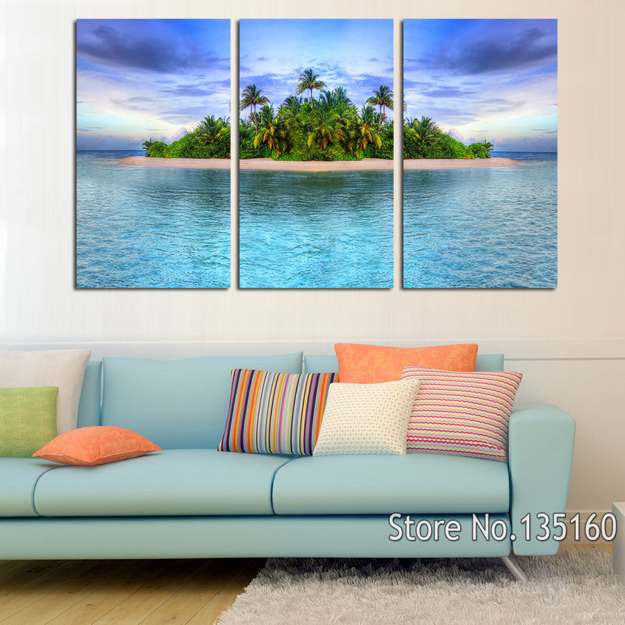 3 Piece Home Decor Wall Pictures Tropical Island Painting Canvas Ocean Seascape Art Prints Poster For Living Room No Frame ...