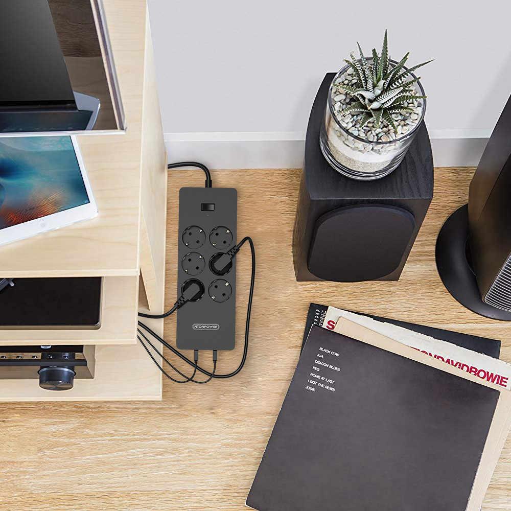 NTONPOWER ネットワークフィルタースマート電源ストリップマルチプラグ 5 USB ソケットサージ Protector-1.5m 電源コード壁の充電器アダプタ用