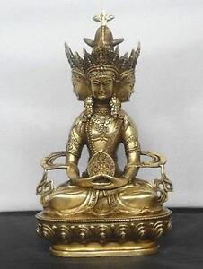 Bouddhiste bronze VAIROCANA, Herr der Mitte bouddha statue cuivre sculpture décoration de la maison