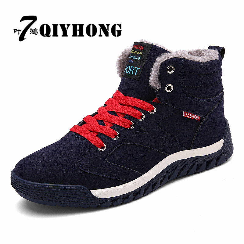 QIYHONG Super Warm Winter Boots Men Snow Boots With Fur Keep Warm Platform Men Winter Snow Shoes Waterproof Ankle Boots 39-46 platform bowkont flocking snow boots page 6