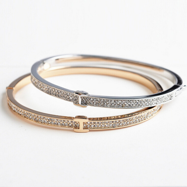 Fashion Jewelry Wholesale Luxury  Gold/Platinum Plated H Shape Bangle For Charm Women