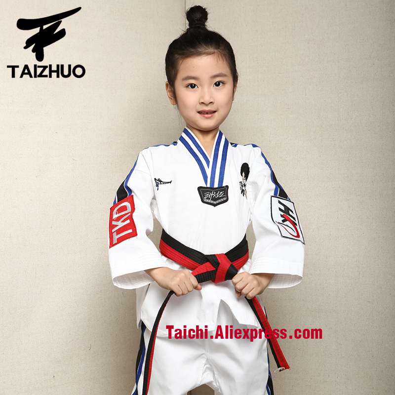 Martial Arts  Tae Kwon Do Children Taekwondo Uinform For Poomsae & Training,WTF Uniform,110-155cm White Color Back Print Yes