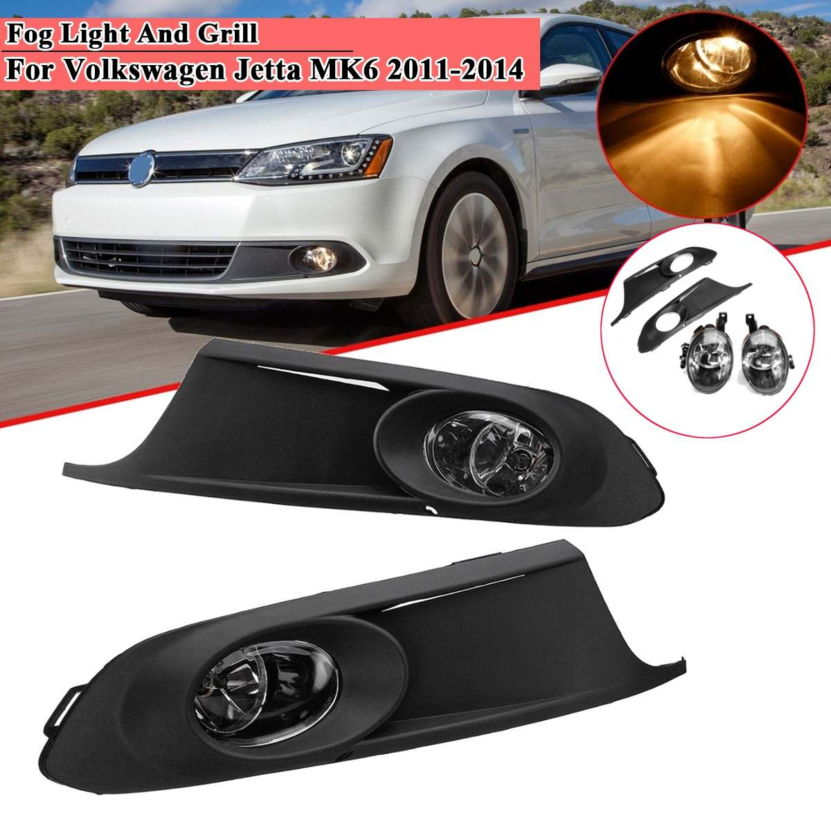 Fog light Cover For Vw Jetta MK6 2011 2012 2013 2014 Foglight Front Bumper Fog lamp Driving light drl Car Accessories Halogen