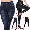 2019 Imitation Leggings Jeans Side Striped Women Mock Pocket Leggings Pants Slim Jeggings Ladies Denim Skinny Trousers plus size 1