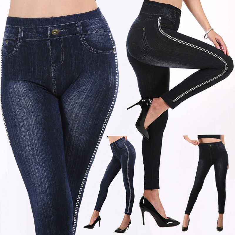 2019 Imitation Leggings Jeans Side Striped Women Mock Pocket Leggings Pants Slim Jeggings Ladies Denim Skinny Trousers Plus Size