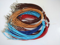 Wholesale Lot 50Pcs 2mm Real Leather Necklace Cords For Hanging Charms Pendants With Lobster Clasp Chain