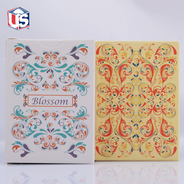 deck quality poker green or item imported platinum linoid finish yellow metallic ink bloom flower spring blossom card publisher high stock usps aloys