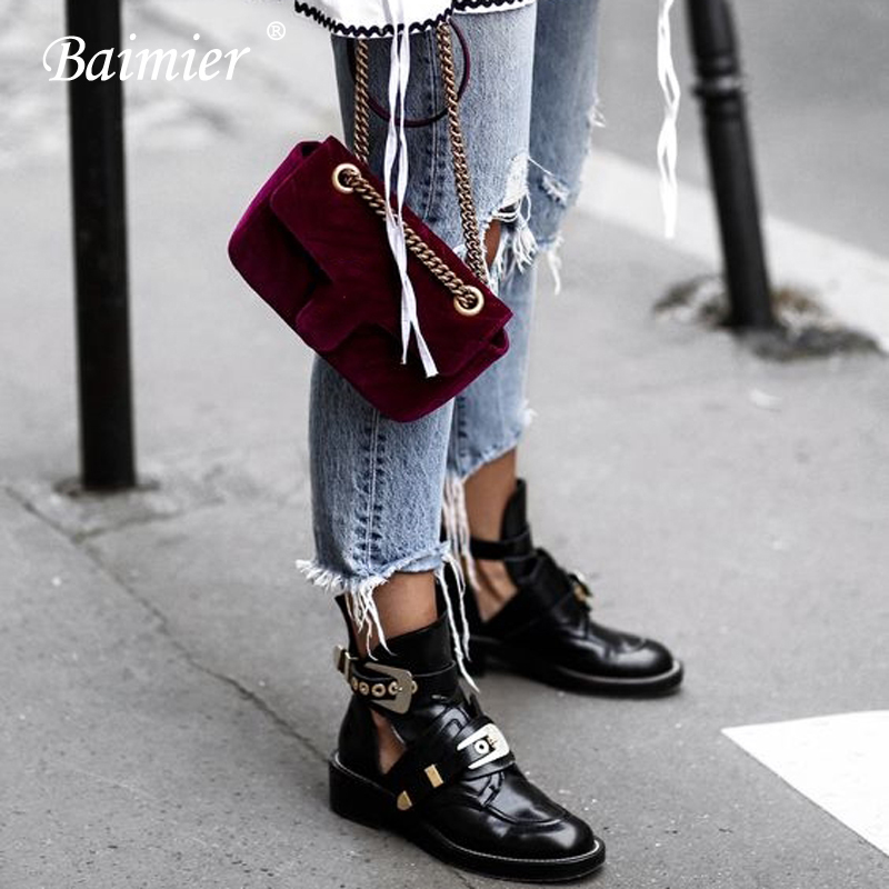 Baimier Gold Silver Buckle Ankle Boots For Women Fashion Brand Low Heel Shoes Women Motorcycle Boots Spring Autumn Boots Women(China)