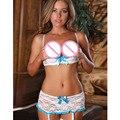 2016 a Forma Das Mulheres Produtos Sexy Lace Open Cup Bra Prateleira Garter Belt + G-string Lingeries Sexy Preto Branco escolhido 346544