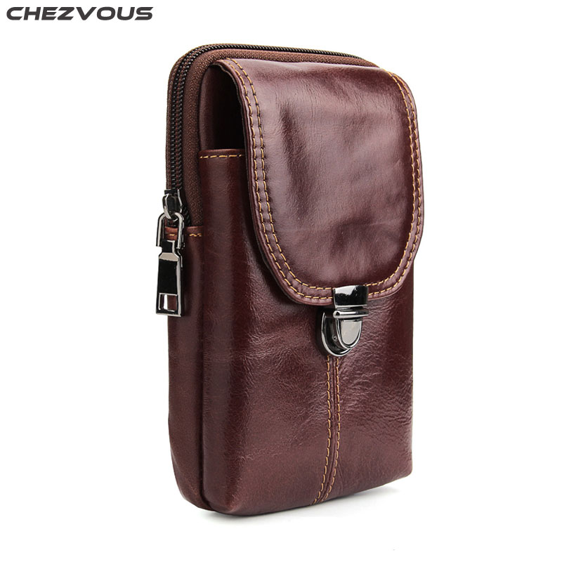 CHEZVOUS 6.3'' Mobile Phone Bag Case for iPhone 7 8 6 plus X 5 Leather Belt Clip Pouch Holster for Samsung S8 S9 plus S7 S6 S5