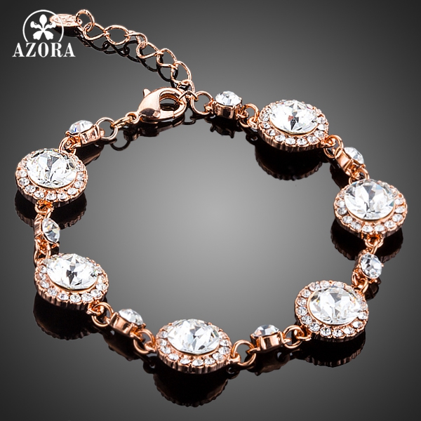 AZORA Rose Gold Color 6pcs Round Connected With Clear Stellux Austrian Crystal Bracelet TS0132