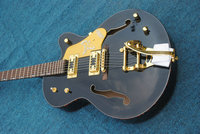 Chinese OEM Music Instruments Hollow Body black color Jazz Guitar gold hardward bigsby Electric Guitar For Sale free shipping