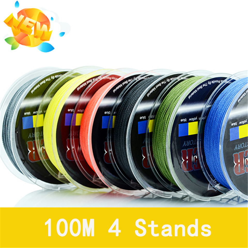 Wholesale Monofilament Braided Fishing Line 100m Floating Multicolor 8-60LB High Quality PE 4 Strands China 2016 Free Shipping цены