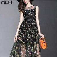2017 Newest Fashion Bohemian LongDress Women S Elegant Short Sleeve Flower Floral Embroidery Black Vintage Long