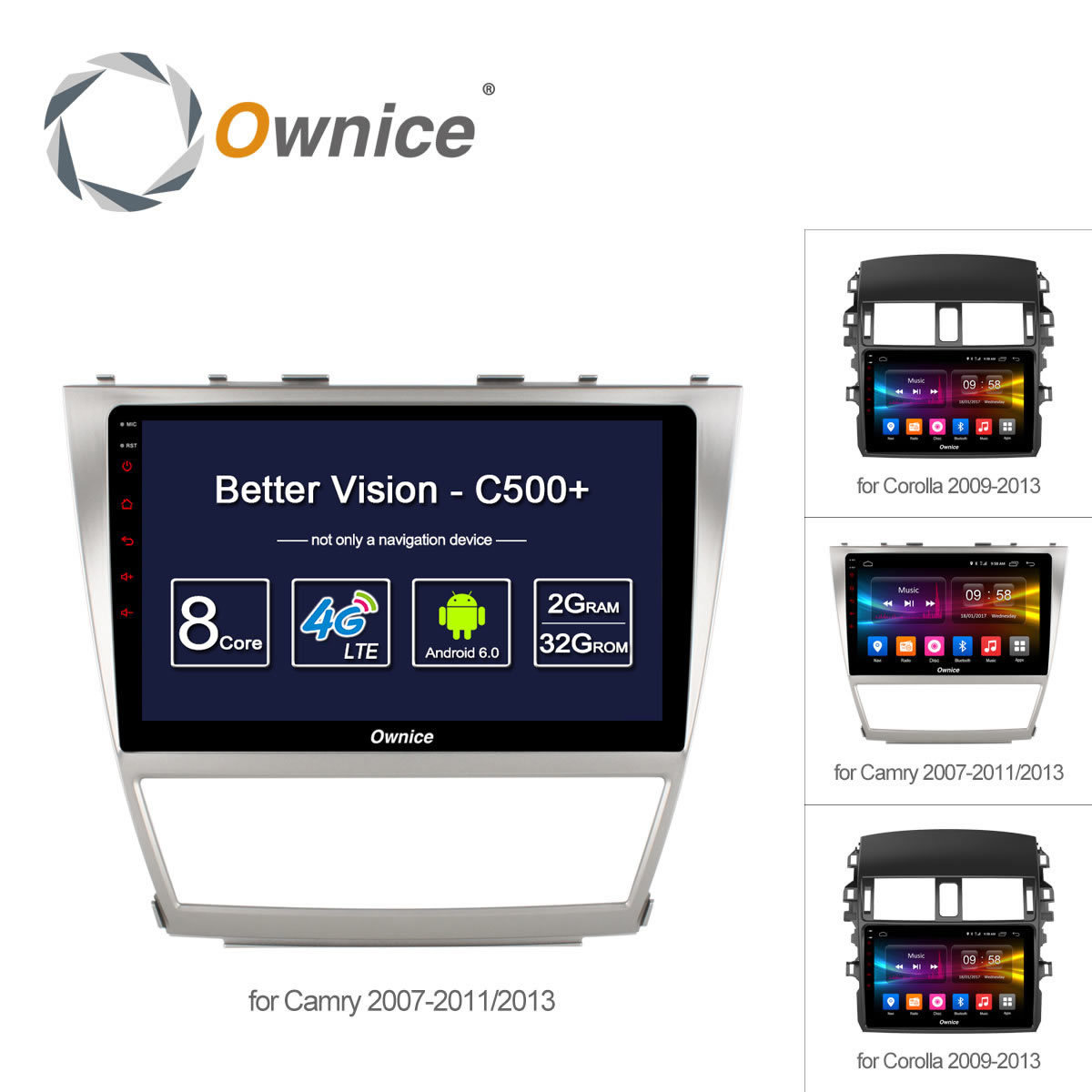 Ownice C500+ 8 Core 10.1 Android 6.0 car Radio player DVD 32G ROM for Toyota Corolla 2009 - 2013 Camry 2007 - 2011 2013 4G DAB+
