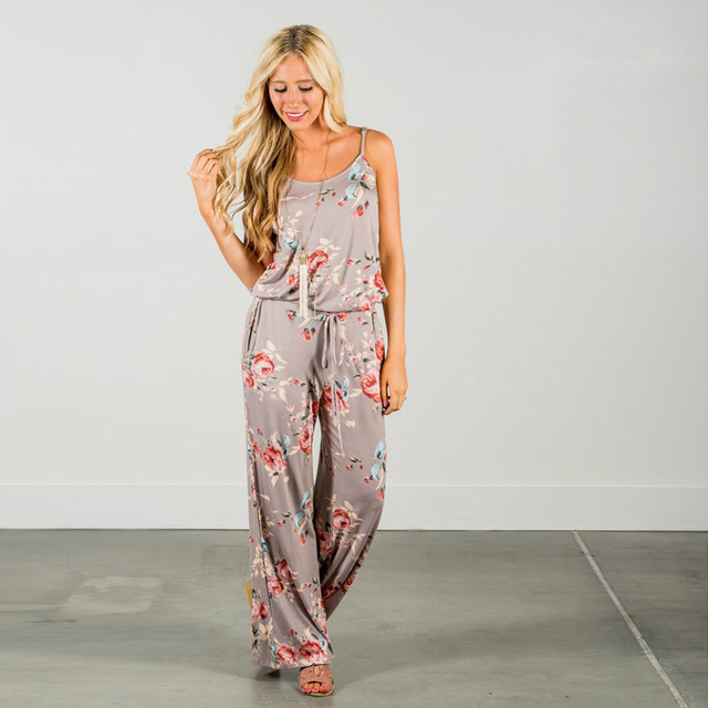 2019 women Super Comfy Floral Jumpsuit Fashion Trend Sling Print Loose Piece Trousers 5