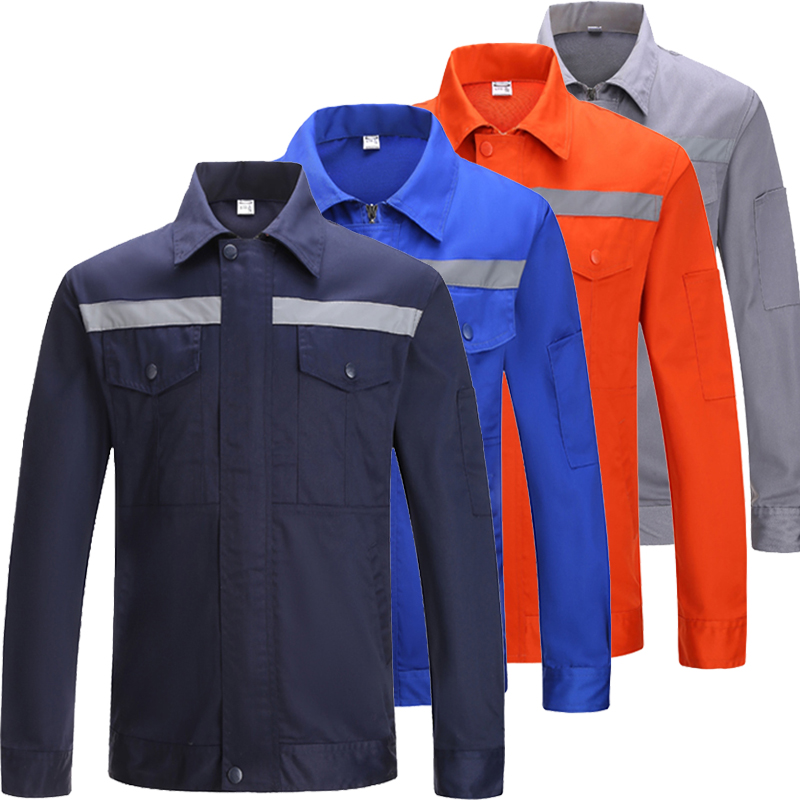 Navy Blue Long Sleeve Work Shirt With Hi Vis Tapes Work Uniform For Men