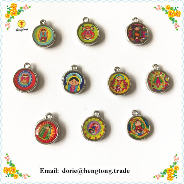 Free Ship 80pcs/PACK  Round Baby Guadalupe Pendant,Guadalupe Charm,alloy Religious Icon Charm Two Side  With Epoxy
