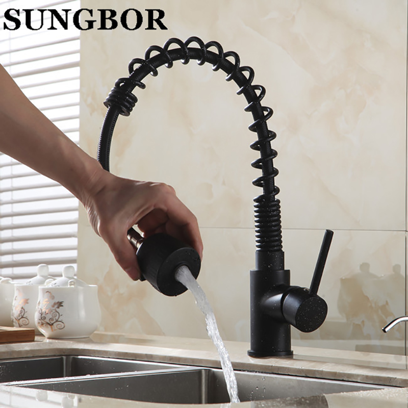 Black Bronze European Pull Type Kitchen Sink Copper Faucet Black ...