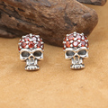 NEW! Handmade Thai Silver Skull Earrings Vintage 925 Silver Skull Earring Real Sterling Silver Man EarringA