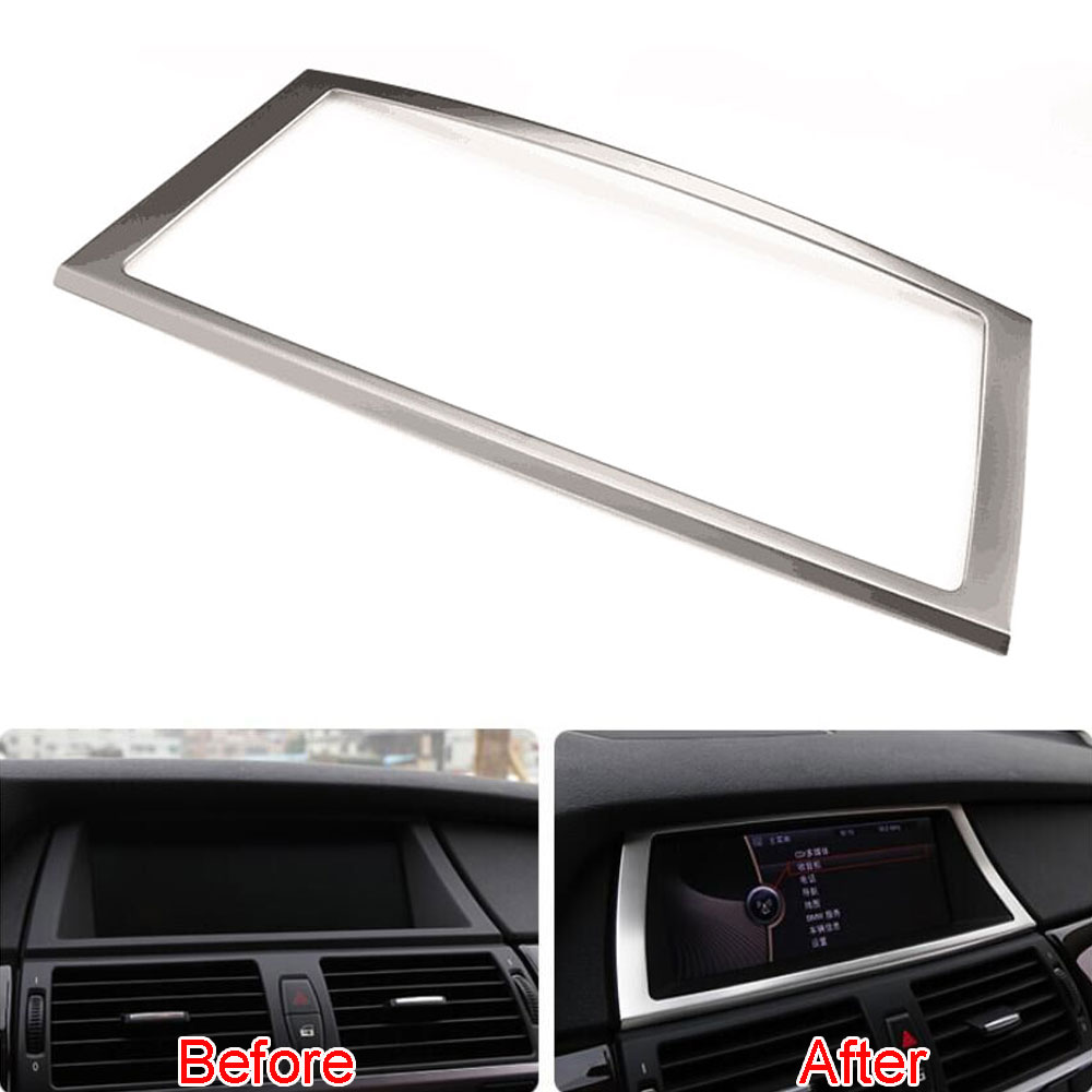 Décoration intérieure de cadre de Navigation de GPS de Console d'acier inoxydable de voiture pour bmw X5 X6 E70 E71 2008-2014 style de voiture