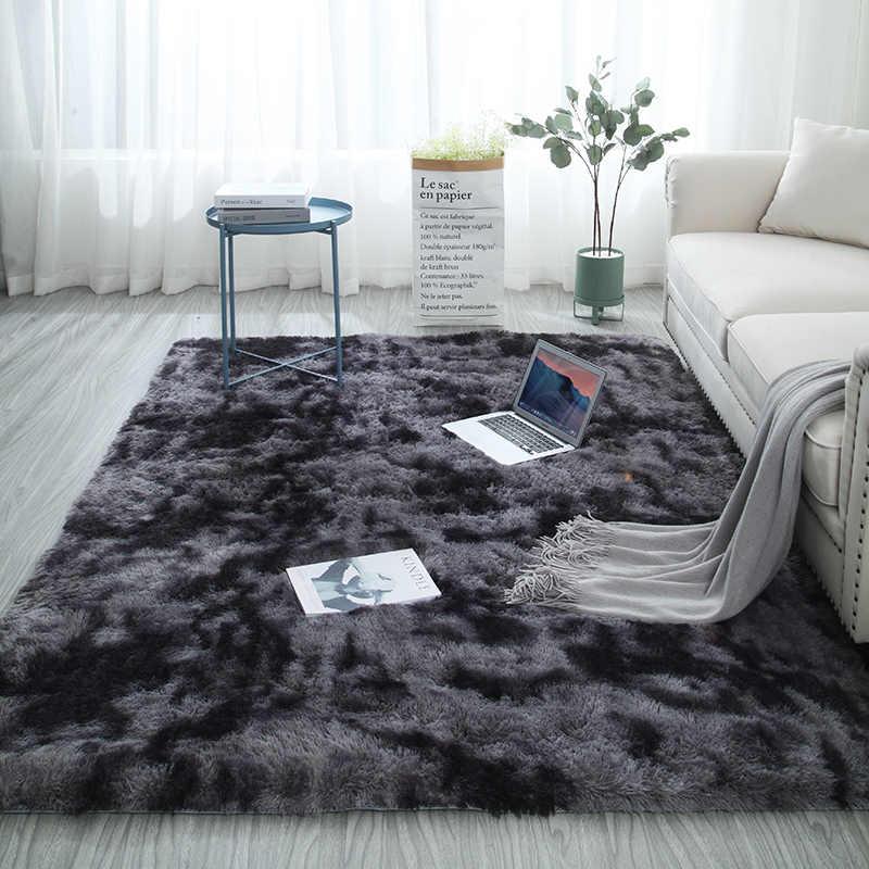 Eropa Rambut Panjang Fashion Karpet Kamar Tidur Karpet Jendela Samping Tempat Tidur Mat Mudah Dicuci Kepribadian Selimut Gradien Warna Karpet Ruang Tamu