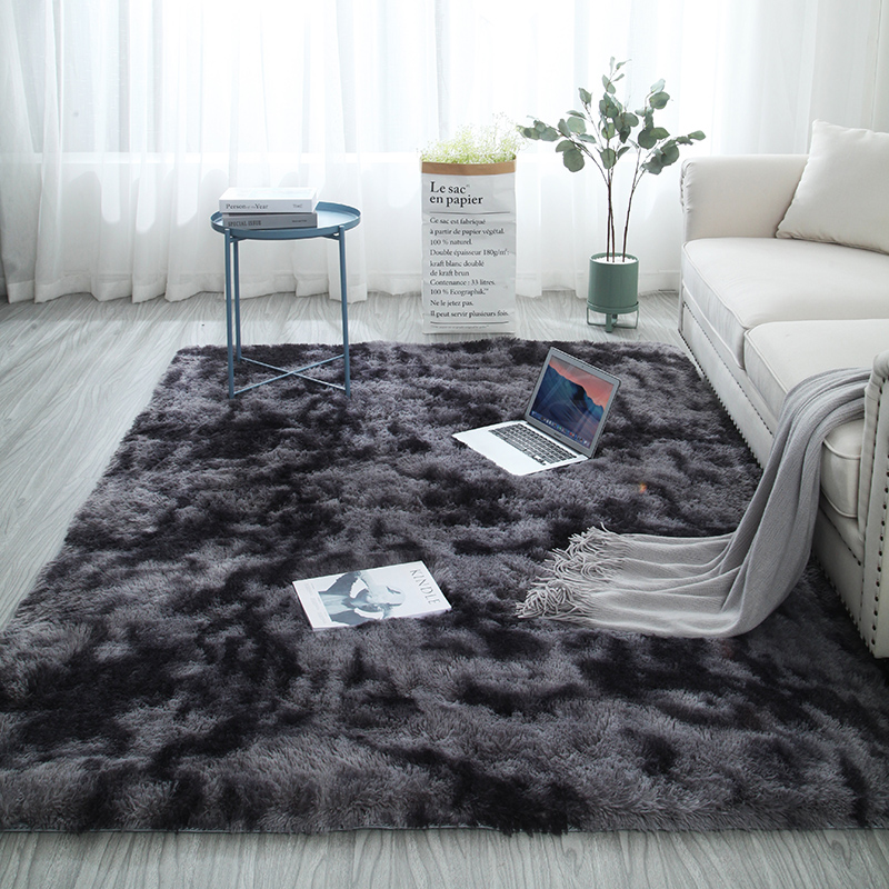 European long hair fashion bedroom carpet bay window bedside mat washable personality blanket Gradient color living room rug(China)