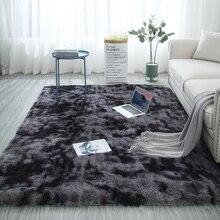 Alfombra larga de moda para el cabello de estilo europeo, alfombra para los pies de la cama, manta lavable con personalidad, Alfombra de color degradado para sala de estar