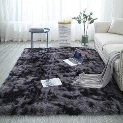 Europeu longo cabelo moda quarto tapete bay janela cabeceira tapete lavável personalidade cobertor cor gradiente sala de estar