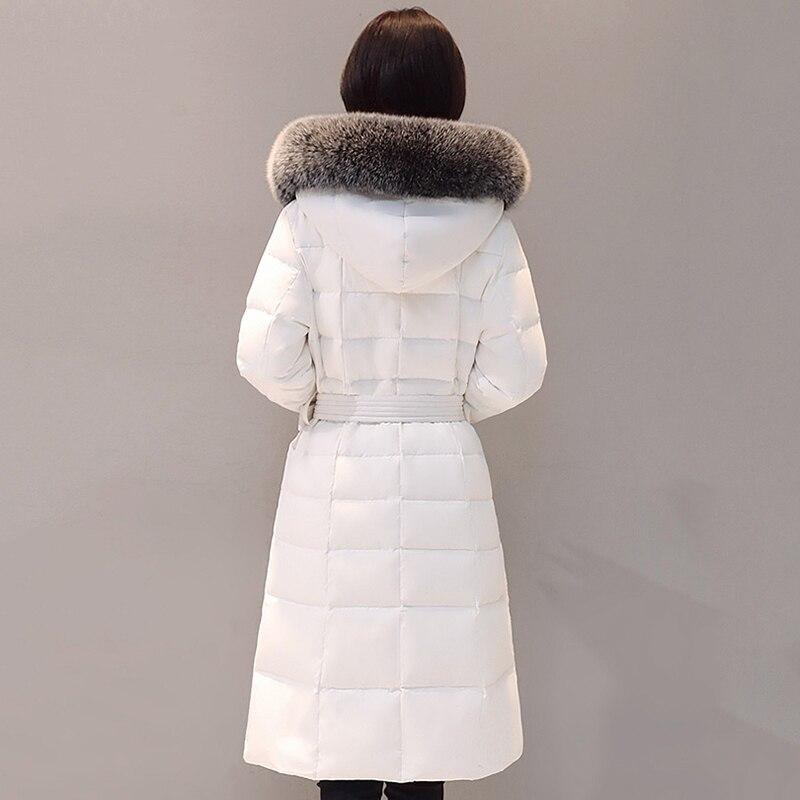 Fourrure Longue white De Doudoune Manteaux Épaississent Canard 2018 Mode Femmes Parka Col À Hiver Réel Manteau Duvet Survêtement Xy369 Capuche Fox Blanc Black N08OvnwymP