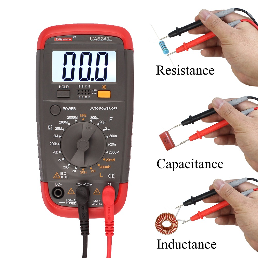 Digital Multimeter Resistance Capacitance Inductance LCR Multi Meter Tester with LCD Backlight Transistor hFE Display 1-1999 3 1 2 1999 count digital lc c l meter inductance capacitance tester mastech my6243