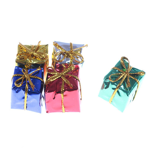 10pcs Dolls House Miniatures 1:12 Christmas Configuration Purple Paper Mini Gift Box DIY Miniature Dollhouse Toy