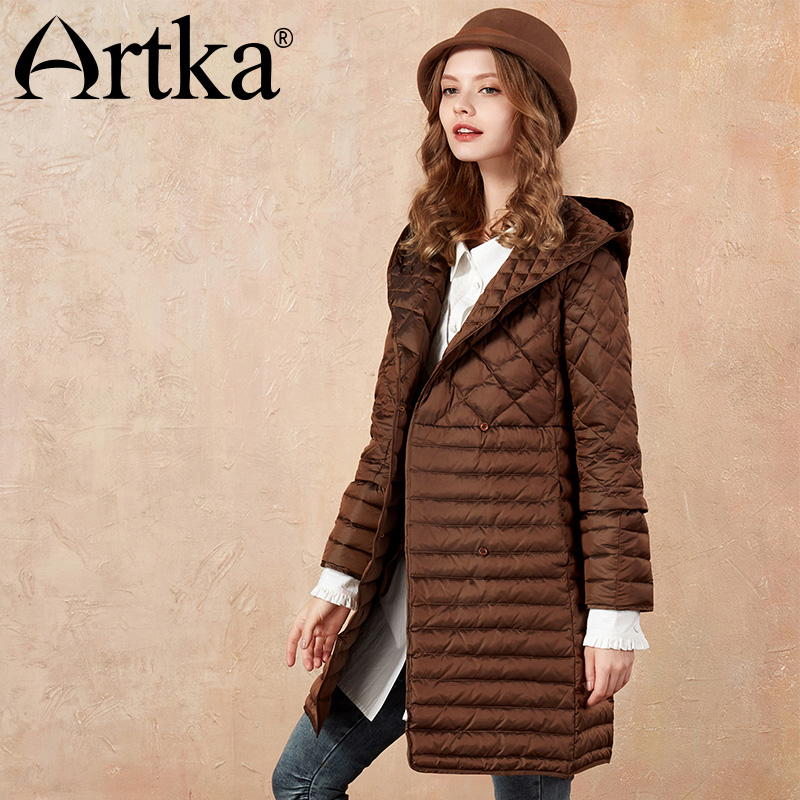 ARTKA 2018 Autumn&Winter Three-Way Wearing White Duck Women   Down     Coat   Long Jacket ZK10072D