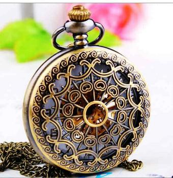 luxury Bronze antiques A spider's web Mechanical hand wind White flour Men And Woman Necklace pocket watches KLJ658
