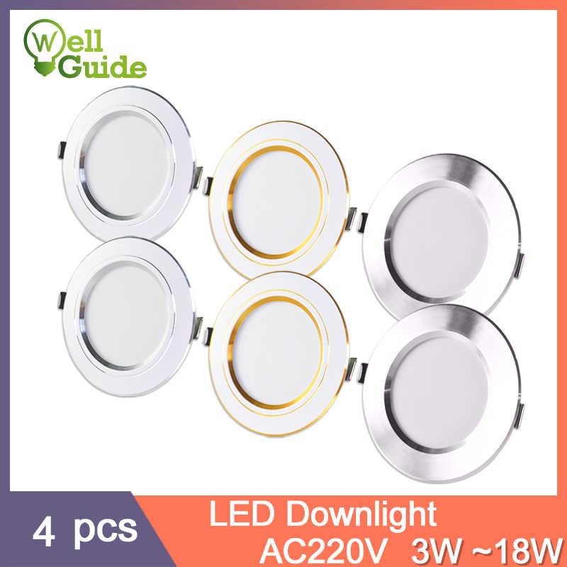 4Pcs led downlight 3W 5W 9W 12W 15W 18W downligh Ultra Thin Aluminum AC220V Round Recessed LED Spot Lighting indoor lighting
