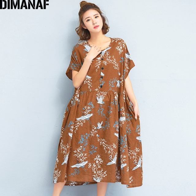 Dimanaf Women Dress Summer Plus Size Linen 2018 Batwing Pattern Prairie Chic Female Loose Large Oversized