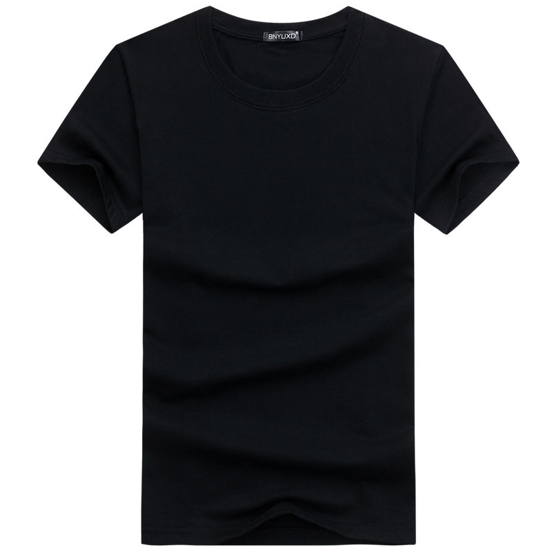 YELITE Black And White Cotton T-shirts 2019 New Solid Color T Shirt Summer Casual Tshirt Boy Simple Tops Tees Plus Size 5XL
