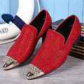 Men Shoes Metal Pointed Toe Slip On Men Loafers Luxury Rhinestone Red Wedding Shoes Men Flats Party Dress Oxfords Espadrilles