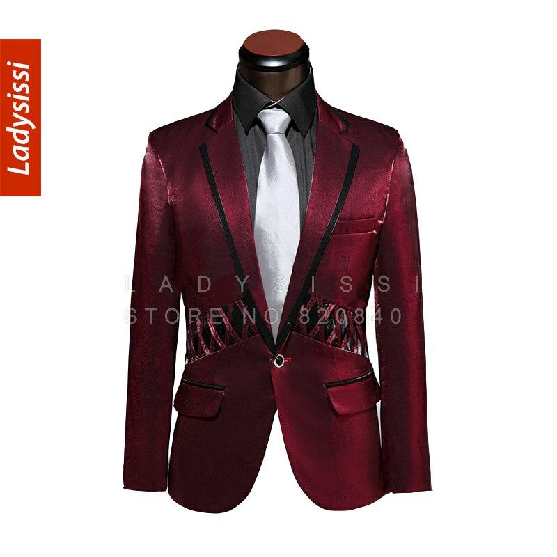 2015 Custom Suit Mens Burgundy Bespoke Red Groom Wear with ...