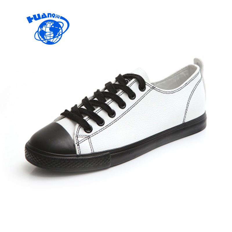 HUANQIU Women White Shoes 2017 New Fashion Female Leather Shoes All Match Classic Style Black Shoes for Woman Flat Heel 35-39 new sexy vs045 1 6 black and white striped sweather stockings shoes clothing set for 12 female bodys dolls