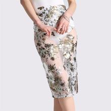 تنورة ميدي ضيقة شفافة و مثيرة بطباعة أزهار