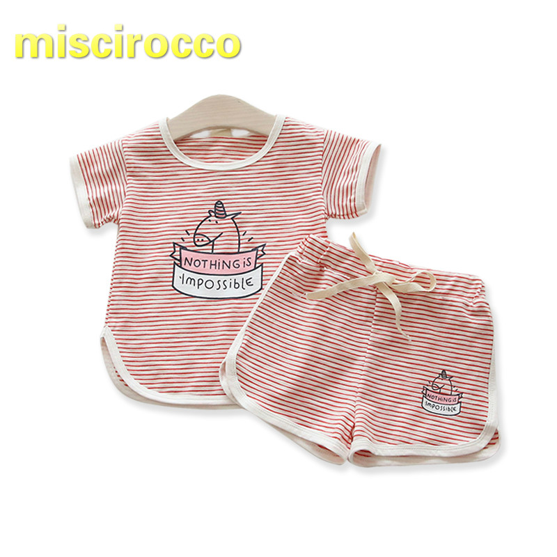 Summer Girls Sports Suit Unicorn Breathable Striped Short SleeveT-shirt Childrens Cotton Two-piece Thin Cute