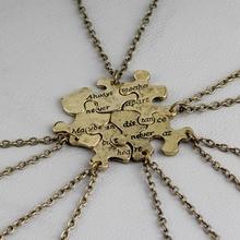 6Pc/set Vintage Interlocking Jigsaw Puzzle BFF Necklace hand stampe 'Always Together Never Apart Best Friends Pendant Necklace цена