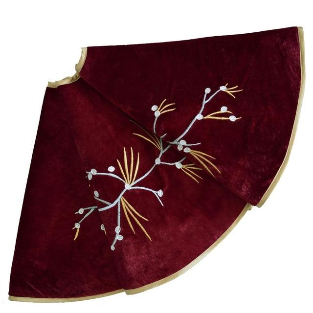 Sorrento 36inch/42inch/50inch Burgundy Velvet Christmas tree skirt Berry Embroidery skirt Christmas Decoration 1