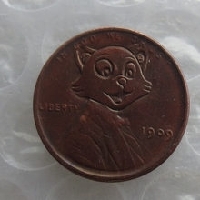 US(05) Hobo Nickel 1909 Wheat Penny Pressed Hobo Lincoln in Tommy Cat Hello Kitty Cat Funny Copy Coin